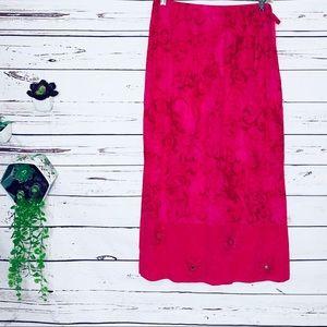 🌺3/$20 SALE Vintage Hot Pink Tropical Flowy Skirt